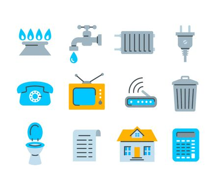 Household services utility bill icons. Vector flat symbols of regular payments such as gas, water, electric energy, heating, telephone, cable TV, Internet, garbage, sewage. Simple color pictograms