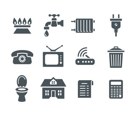 Household services utility bill icons. Vector flat silhouettes regular payment symbols such as gas, water, electric energy, heating, telephone, cable TV, Internet, garbage, sewage. Simple pictograms Ilustração