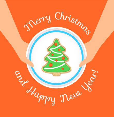 Merry Christmas and Happy New Year greeting card. Holiday vector cartoon illustration. Christmas cookie in form of a tree on a plate in woman's hands. Gingerbread homemade biscuit decorated with icing Ilustração