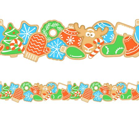 Gingerbread Christmas cookies seamless border. Horizontal vector cartoon pattern for frame. Homemade biscuits decorated with sugar icing