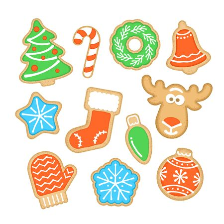 Christmas cookies decorated with sugar icing. Gingerbread homemade biscuits. Vector cartoon illustration. Traditional festive food. Different shapes such as tree, star, snowflake, bell, sock, deer