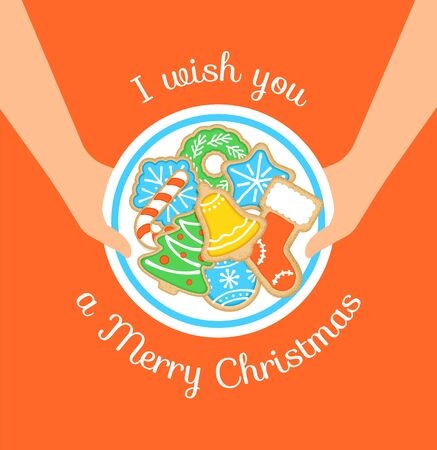 Merry Christmas greeting card. Happy holiday vector cartoon illustration. Christmas cookies on plate in woman's hands. Gingerbread homemade biscuits decorated with sugar icing. Festive food for party Ilustração