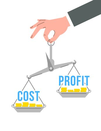 Businessman holds in a hand balance scales with words cost and profit. Financial assessment concept. Flat vector illustration. Evaluation of investment risks. Comparison of expenses and incomes