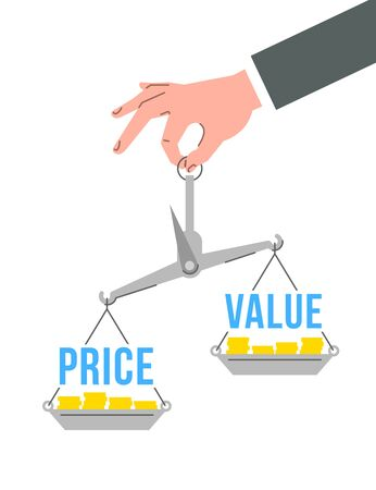 Businessman holds in hand balance scales with words price and value. Financial assessment concept. Flat vector illustration. Comparison of cost and worth Ilustração