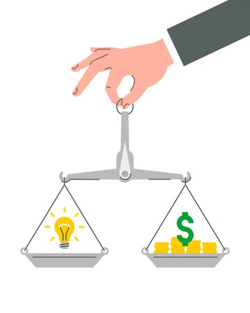 Idea is money business concept. Businessman holds in hand balance scales with dollar sign and light bulb. Flat vector illustration.