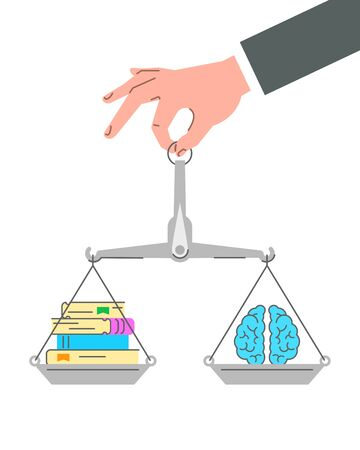Reading develops the brain. Flat vector concept. Conceptual linear illustration of a hand holding balance scales with paper books and brain icon. Self-education expands thinking