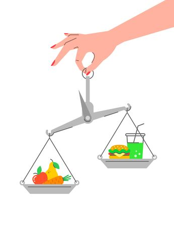 Fruits vs fast food concept. Healthy lifestyle flat vector conceptual illustration. Weight loss challenge. Balance scales with vegetables and hamburger with soda. Organic food against unhealthy diet