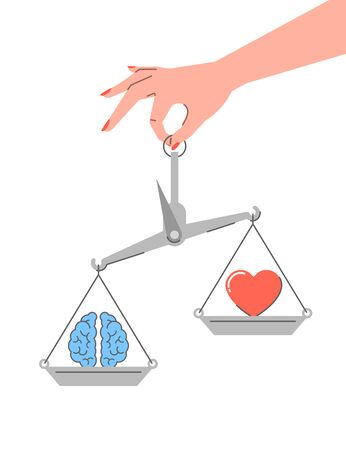 Logic vs emotions. Flat linear vector concept. Conflict between rational thinking and feelings. Female hand holds balance scales with brain symbol and heart icon. Pragmatic mind vs intuition