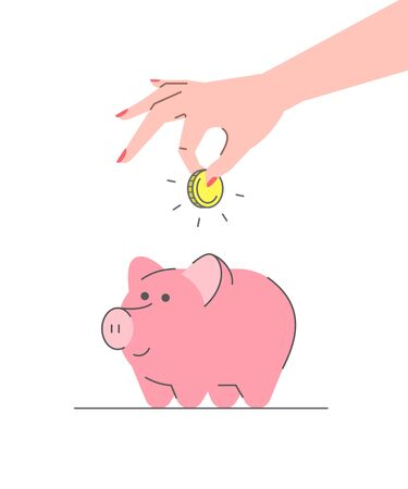 Donation concept. Flat linear vector illustration. Female hand puts golden coin in cute pink piggy bank. Savings for future. Retirement planning. Minimalistic thin line style Ilustração