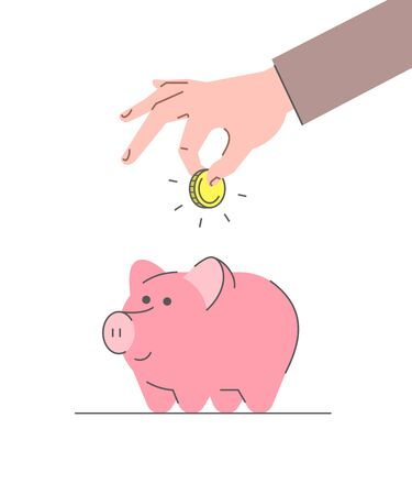 Donation concept. Flat linear vector illustration. Male hand puts golden coin in cute pink piggy bank. Savings for future. Retirement planning. Minimalistic thin line style