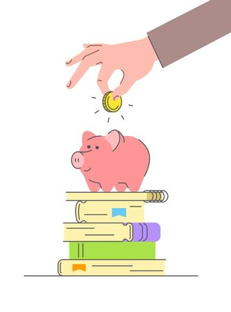 Education loan concept. Flat linear conceptual vector illustration of savings for college or university. Male hand puts golden coin in cute pink piggy bank standing on stack of books. Flat line style Ilustração