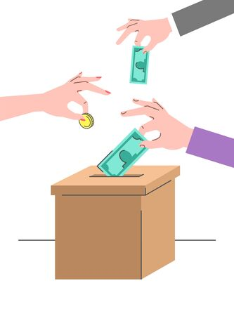 Donation concept. Male and female hands put money in a cardboard box. Idea of crowdfunding. Flat vector illustration. Charity volunteer support. Social help banner. Money donate symbol