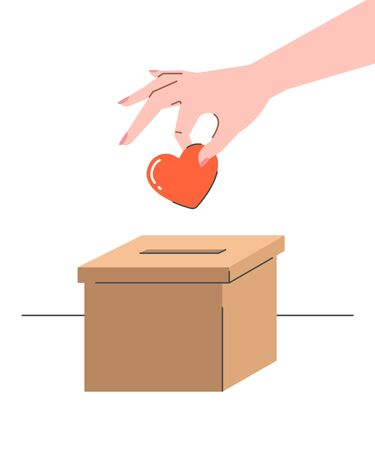 Donation concept. Woman puts a heart symbol in a cardboard box. Flat vector illustration. Charity volunteer support. Social help banner.
