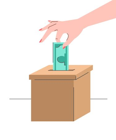 Donation concept. Female hand puts a dollar in a cardboard box. Flat vector illustration. Charity volunteer support. Social help banner. Idea of crowdfunding. Money donate symbol