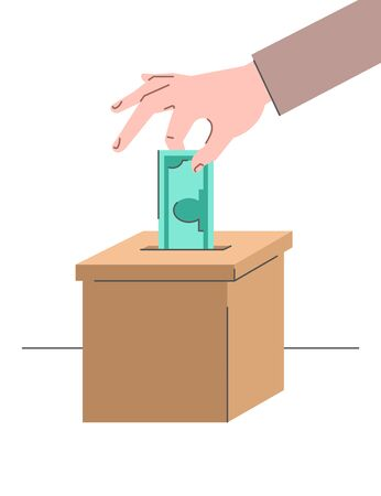 Donation concept. Male hand puts a dollar in a cardboard box. Flat vector illustration. Charity volunteer support. Social help banner. Idea of crowdfunding. Money donate symbol
