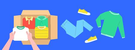 Clothes donation concept. A person puts garments in open cardboard box. Pants, sweater and shoes lie nearby. Top view horizontal banner. Flat lines vector illustration. Packing things for moving