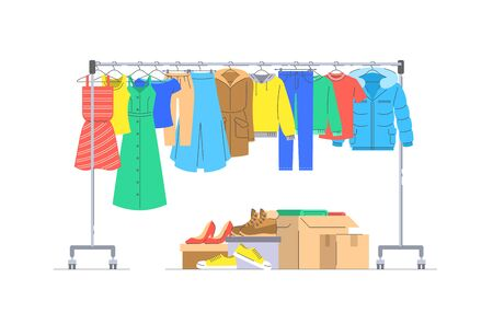 Cloth donation concept. Men and women clothes hanging on hanger rack. Boxes with shoes and different stuff. Flat lines vector illustration. Charity volunteer support. Social help banner Ilustração