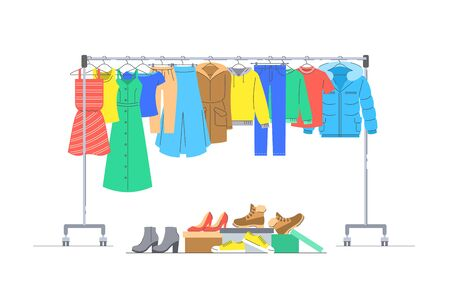 Men and women casual clothes on hanger rack. Boxes with shoes. Flat lines vector illustration. Male and female garments hanging on shop rolling display stand. Cloth donation. Seasonal sale concept