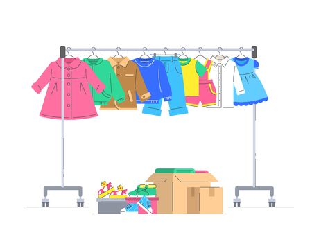 Kids clothes donation concept. Little baby clothes hanging on rolling hanger rack. Boxes with small shoes and different stuff. Flat lines vector illustration. Charity volunteer support. Social help