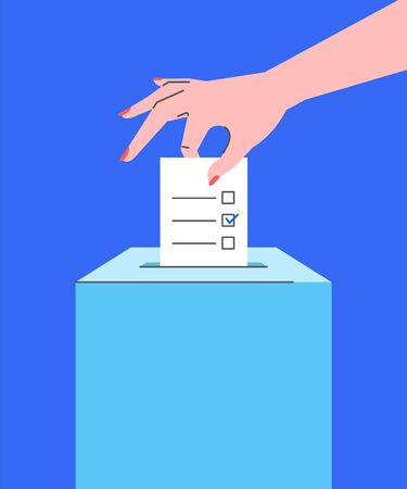 Voting concept. Flat line vector illustration of female hand putting ballot paper with candidates list and mark into ballot box. Voter makes choice on election day. National referendum, local election