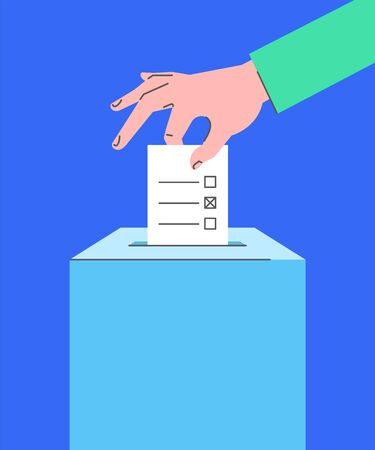 Voting concept. Flat line vector illustration of male hand putting ballot paper with candidates list and mark into ballot box. Voter makes choice on election day. National referendum, local elections