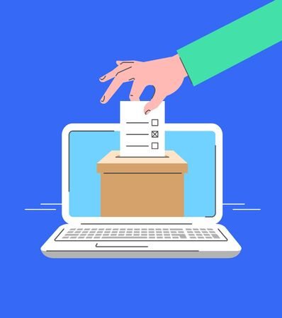 Electronic voting concept. Flat line vector illustration of male hand putting marked ballot paper into ballot box on computer screen. Voter makes choice on election day online. Local elections by PC Ilustração