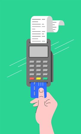 Electronic payment concept. Flat linear illustration of POS terminal and chip credit card inserted into it. Store payment machine with long paper check. Buyer makes a purchase using card reader