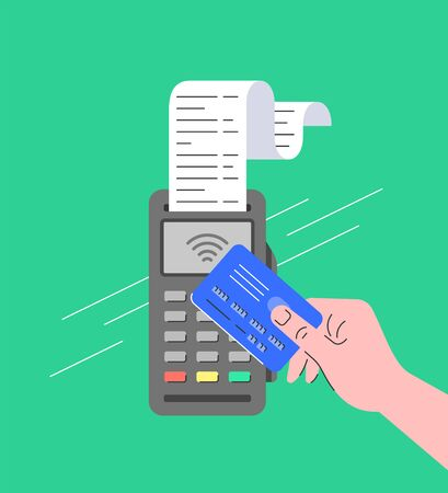 Contactless payment concept. Flat linear illustration of POS terminal with NFC technology. Store payment machine with long paper check. Buyer pays for purchase at checkout holding wireless credit card