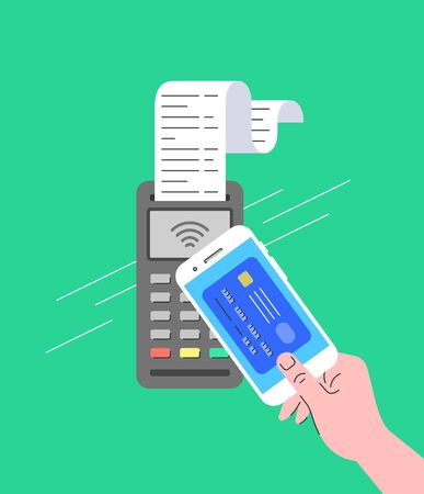 Contactless payment concept. Buyer pays for purchase at checkout using smartphone. Flat linear illustration of POS terminal with NFC technology. Store payment machine with long paper check