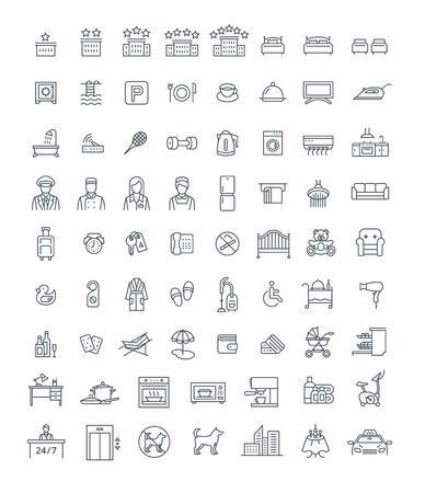 Booking hotel, motel or hostel room with services thin line vector icons. Rent an apartment with private facilities while traveling. Black outline symbols. Simple linear pictograms