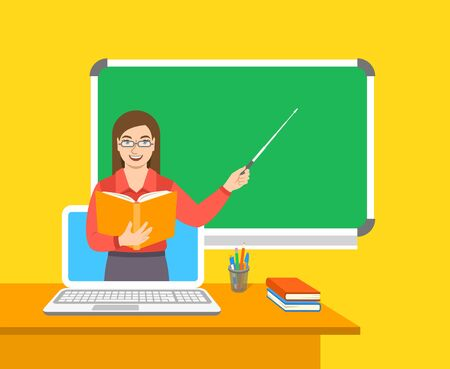 Online education concept. Home education during quarantine. Distance learning by computer. Woman teacher in virtual class holds open book and points to the blackboard. Cartoon vector illustration