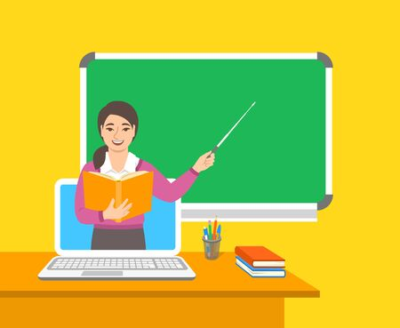 Online education concept. Home education during quarantine. Distance learning by computer. Asian woman teacher in virtual class holds open book and points to a blackboard. Cartoon vector illustration
