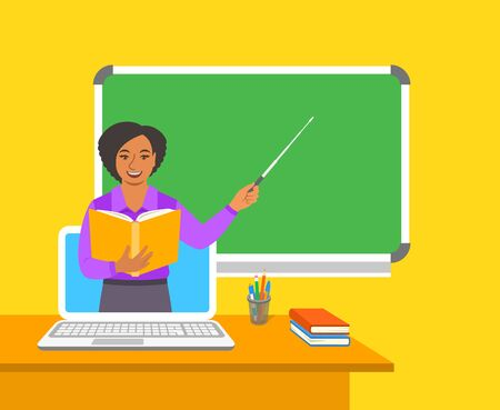 Online education concept. Home education during quarantine. Distance learning by computer. Black woman teacher in virtual class holds open book and points to a blackboard. Cartoon vector illustration