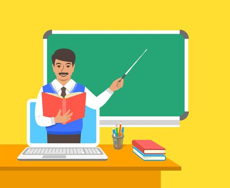 Online education concept. Home education during quarantine. Distance learning by computer. Indian man teacher in virtual class holds open book and points to a blackboard. Cartoon vector illustration