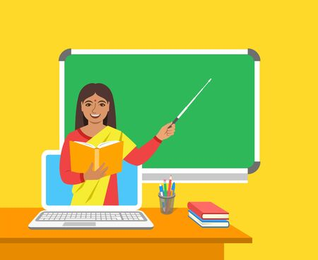 Online education concept. Home education during quarantine. Distance learning by computer. Indian woman teacher in virtual class holds open book and points to a blackboard. Cartoon vector illustration