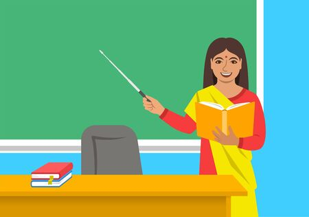 Indian woman teacher in sari standing with open book and pointer at the blackboard in classroom. School class interior. Education concept. Cartoon vector illustration. Back to school banner.