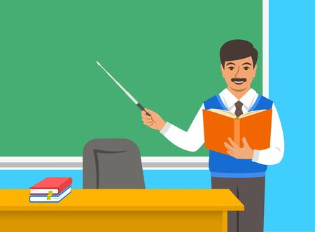 Indian man teacher standing with open book and pointer at the blackboard in classroom. School class interior. Education concept. Cartoon vector illustration. Back to school banner.