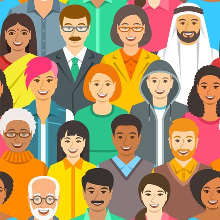 Crowd of people of different races, gender and age. Flat seamless pattern. Global community concept. Idea of human diversity, togetherness and communication. Happy cheerful friendly faces