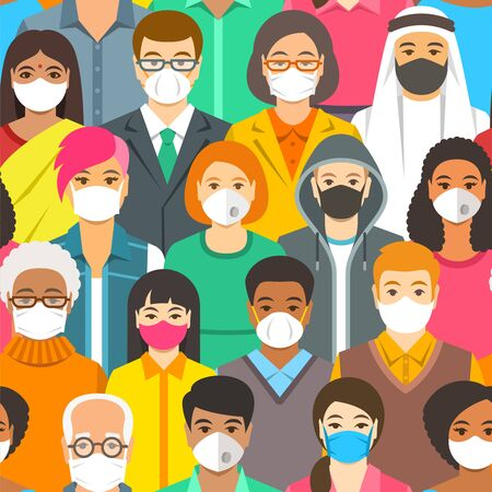 Crowd of people in protective medical face masks. Spread of coronavirus from person to person prevention. Wearing respirators to prevent covid-19 infection. Coronavirus pandemic. Global quarantine