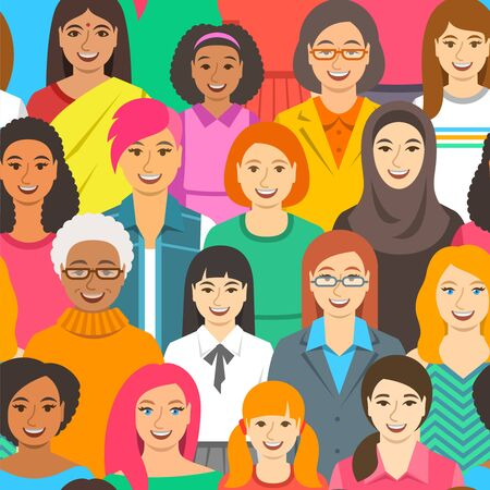 Women diversity seamless pattern. Happy smiling female faces of different ethnicity, age and race. Cartoon vector illustration. Girl power and togetherness concept. Feminist movement for women rights Ilustração