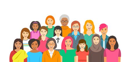 Group of women. Happy smiling female faces of different ethnicity, age and race. Horizontal flat style banner. Girl power and togetherness concept. Feminist movement for women rights