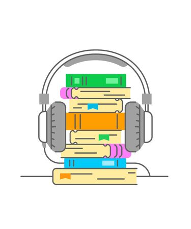 Audiobook concept. Flat thin line vector illustration. Stack of books with headphones on it. Electronic book metaphor. Online bookstore logo element