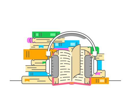 Audiobook concept. Flat thin line vector illustration. Stack of books with open book and headphones on it. Electronic book metaphor. Online library for listening of ebooks