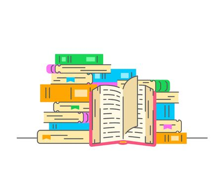 Stack of books with open book. Reading paper books concept. Flat thin line vector illustration. Bookstore icon. Online library for downloading of ebooks Ilustração