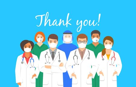 Doctors team in protective face masks with thank you inscription. Appreciation for hospital staff fighting the spread of coronavirus. Personnel of medical clinic, physicians and nurses stand together Illustration