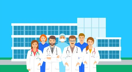 Doctors and nurses team standing at the hospital building in different poses. Flat vector illustration. Personnel of medical clinic, physicians and surgeons, health care workers.