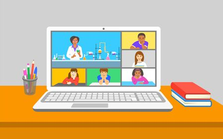 Online education virtual chemistry class teleconference. Kids stay home watching chemistry teacher explains a chemical experiment near test tubes. Remote education during coronavirus quarantine. Ilustração