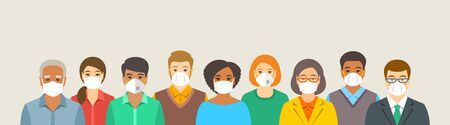 Group of people in protective medical face masks. Prevention of coronavirus, flu, urban air pollution, smog, contaminated air in the world. Wearing respirators to prevent covid-19. Social distance