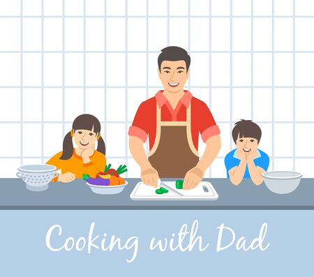 Asian family cooking together. Dad with two happy kids cuts vegetables for the dinner. Flat cartoon illustration. Little son and daughter help father cook meals in the kitchen. Stay home concept