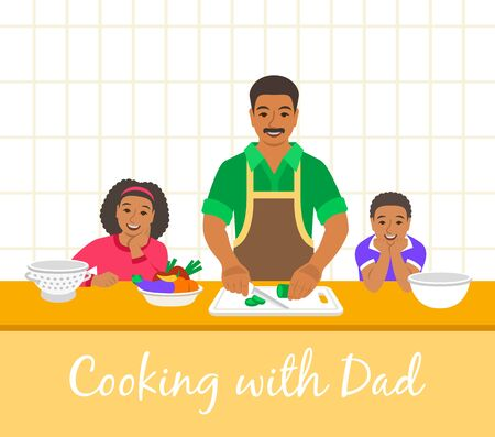 Black family cooking together. Dad with two happy kids cuts vegetables for the dinner. Flat cartoon illustration. Little son and daughter help father cook meals in the kitchen. Stay home concept